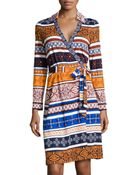 Diane von Furstenberg New Jeanne Long-sleeve Mix-print Wrap Dress - Lyst
