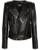 Balmain Leather Biker Jacket - Lyst