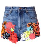 Christopher Kane Lace-Embroidered Denim Shorts - Lyst