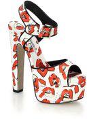 Brian Atwood Karin Lip-Print Canvas Platform Sandals - Lyst