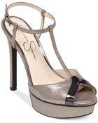 Jessica Simpson Carys T-Strap Platform Sandals - Lyst