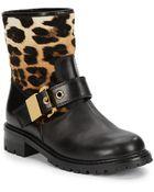 Giuseppe Zanotti Leather & Leopard-Print Calf Hair Moto Boots - Lyst