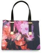 Ted Baker 'Cascading Floral' Canvas Shopper - Lyst
