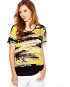 Kensie Short-Sleeve Scoop-Neck Printed Top - Lyst