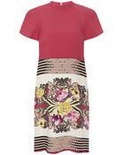 Etro Floral Stripe Cady Shift Dress - Lyst