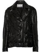 Acne Studios Mason Laser-Cut Leather Biker Jacket - Lyst