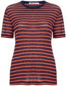 T By Alexander Wang Stripe Linen Short Sleeve T-Shirt - Lyst