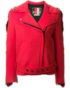 MSGM Contrast Back Faux Fur Biker Style Coat - Lyst