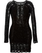 Balmain Open Knit Fitted Dress - Lyst