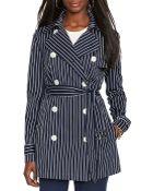 Lauren by Ralph Lauren Stripe Trench Coat - Lyst