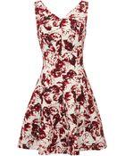 Oscar de la Renta Sleeveless V-Neck Cross-Back Dress - Lyst