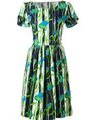 Oscar de la Renta Abstract Print Flared Dress - Lyst