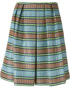 Erika Cavallini Semi Couture Striped Jacquard Pleated Skirt - Lyst