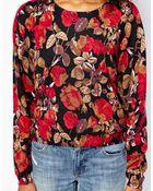 Monki Rose Print Sweat Top - Lyst