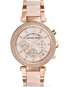 Michael Kors Blush Acetate And Rose Gold Tone Parker Glitz Watch, 39Mm - Lyst