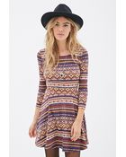 Forever 21 Southwestern Print Fit & Flare Dress - Lyst