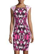 Jax Cutout Printed Sheath Dress - Lyst