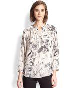 Rebecca Taylor Silk Floral-Print Blouse - Lyst