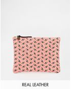 Falconwright Leather Clutch in Pink Eye Print - Lyst