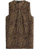 The Kooples Leopard Print Silk Top - Lyst