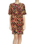 M Missoni Printed Silk Half Sleeve Dress - Lyst