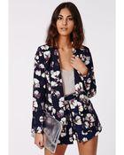 Missguided Lillion Floral Print Tailored Blazer Navy - Lyst