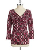 Anne Klein Drape Front Patterned Top - Lyst