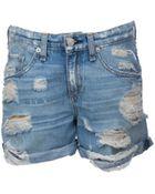 Rag & Bone Boyfriend Distroyed Denim Shorts - Lyst
