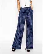 Asos Reclaimed Vintage Co-Ord Wide Leg Pant In Spot With Tie Front - Lyst