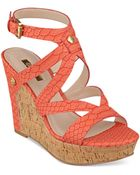 Guess Women'S Harlee Cork Platform Wedge Sandals - Lyst