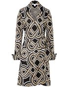 Diane von Furstenberg Jersey Wrap Dress With Oversized Collar - Lyst