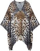Just Cavalli Draped Leopard-Print Silk Top - Lyst
