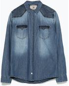 Zara Combined Denim Shirt - Lyst