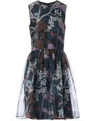 RED Valentino Floral And Owl-Print Silk Dress - Lyst