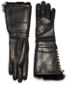 Valentino Rockstud Furlined Leather Gloves - Lyst