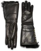 Valentino Rockstud Furlined Leather Gloves - Lyst