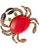 Oscar de la Renta Crab Brooch With Crystals - Lyst