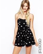 Asos Tall Bandeau Playsuit In Star Print - Lyst