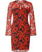 Diane von Furstenberg Lace Gadie Dress In Electric Crimson/Black - Lyst