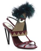 Fendi Bugs Tribal Furtrimmed Leather Sandals - Lyst