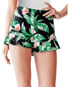 Guess Tropical Print Ruffle-Cuff Shorts - Lyst