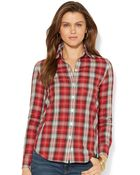 Lauren Jeans Co. Lauren Jeans Co Tabsleeve Plaid Shirt - Lyst