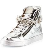 Giuseppe Zanotti Mens Metallic Chain & Zipper High-Top Sneaker - Lyst