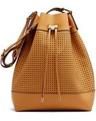 Vince Camuto Colby Perforated Leather Drawstring Bag - Lyst