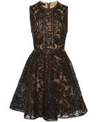 Elie Saab Embroidered Black Tulle and Silk Georgette Short Dress - Lyst