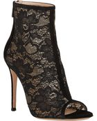 Gianvito Rossi Lace & Suede Ankle Booties - Lyst