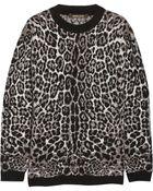 Roberto Cavalli Oversized Leopard-Print Knitted Sweater - Lyst