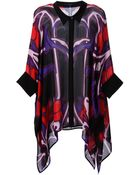Gucci Abstract Print Draped Blouse - Lyst