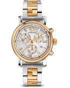 Versace Ladies Two Tone Stainless Steel Chronograph Watch - Lyst