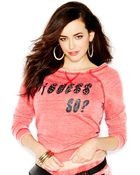 Guess Three-Quarter-Sleeve Boat-Neck Sweatshirt - Lyst